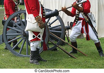 Preparing to Fire - Select Militiamen Load a Cannon during a...