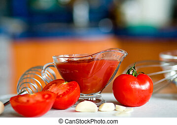 Preparing tomato poignant sauce - Appetizing tomatoes and...