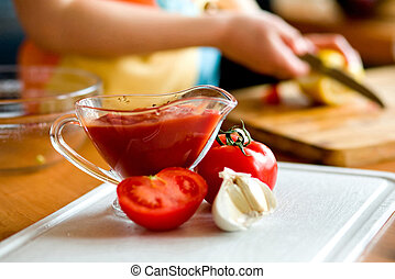 Preparing tomato poignant sauce - Appetizing tomatoes ,...