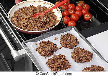 Preparing Tricolor Bean Quinoa Burgers