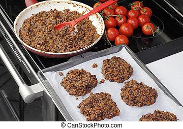 Preparing Tricolor Bean Quinoa Burgers