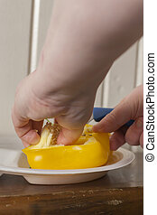 Preparing Yellow Bell Pepper for Cooking