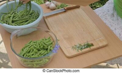 Preparing young green bunch of bean
