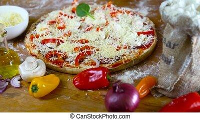 prepearing tasty homemade pizza