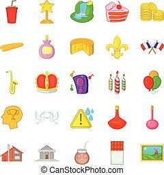 Preponderance icons set, cartoon style - Preponderance icons...