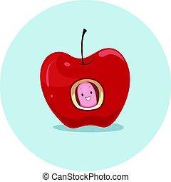 Preposition Apple Worm In