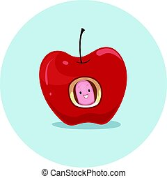 Preposition Apple Worm In