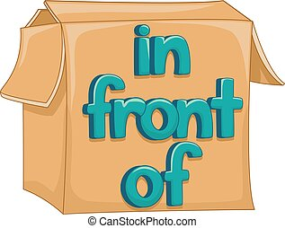 Preposition In Front Of Box Illustration