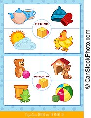 Prepositions behind and in front of
