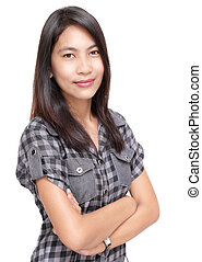 Preppy confident Asian girl portrait