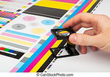 prepress, kleur, management, in, afdrukken, fabriekshal