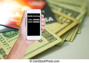 presa a terra, banconota, bancario, mobile, us., immagine, credito, telefono, sfocato, domanda, fondo, mano, scheda