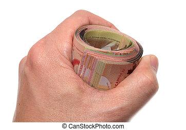 presa a terra, canadese, rotolo, 50, mano, dollari