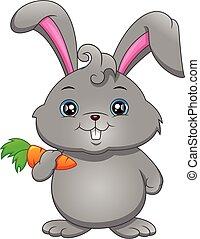 presa a terra, carota, felice, cartone animato, coniglio