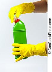 presa a terra, concept., detergent., verde giallo, pulizia, bottiglia, mani, guanti