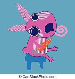 presa a terra, coniglio, sedere, carota, cartone animato
