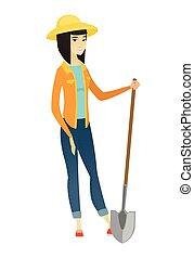 presa a terra, contadino, giovane, shovel., asiatico