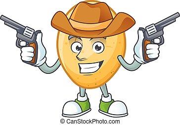 presa a terra, cowboy icona, sorridente, patata, pistole, mascotte