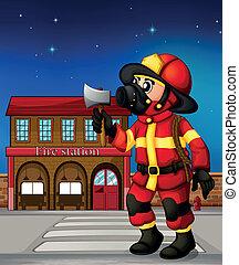 presa a terra, esterno, fuoco, ascia, pompiere, stazione