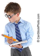 presa a terra, fondo, molto, scolaro, libro, interest., matita, dall'aspetto, bianco, occhiali, il portare, grande, lateralmente