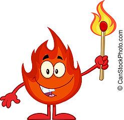 presa a terra, fuoco, bastone corrispondenza, fiammeggiante