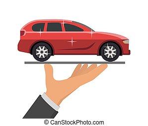 presa a terra, illustrazione, mano, vettore, automobile, rosso