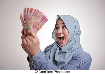 presa a terra, indonesiano, musulmano, donna, soldi, rupiah