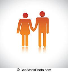 presa a terra, insieme., moglie, illustrazione, marito, ...