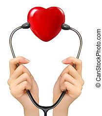 presa a terra, medico, stetoscopio, hea, fondo, mani, rosso