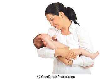 presa a terra, neonato, piangendo bimbo, madre