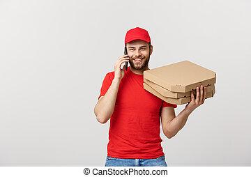 presa a terra, parlare, mobile, berretto, isolato, mentre, consegna, contenitori telefono, fondo, ritratto, bianco, uomo, sorridente, rosso, pizza