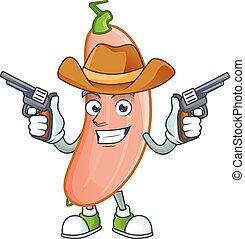 presa a terra, pistole, icona, sorridente, mascotte, banana, cowboy, schiacciare