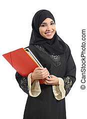 presa a terra, saudita, felice, arabo, studente, cartelle