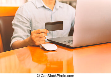 presa a terra, scheda, laptop, uomo affari, lavorativo, linea, credito, banking.