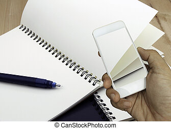 presa a terra, smartphone, libro, fondo, mano