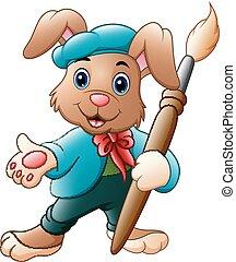 presa a terra, spazzola coniglio, pittore, cartone animato
