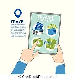 presa a terra, tavoletta, viaggiare, digitale, elenco, bagaglio, fondo, mani, assegno, sagoma