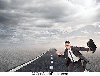 presa a terra, uomo affari, cartella, correndo, felice