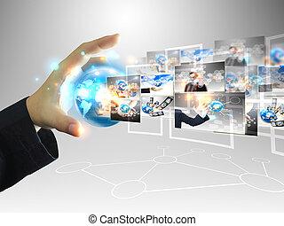 presa a terra, uomo affari, .technology, mondo, concetto