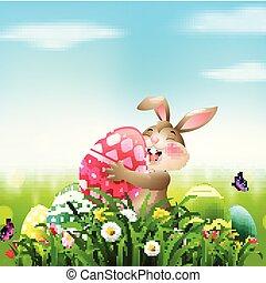 presa a terra, uovo, campo, coniglio, pasqua, cartone animato