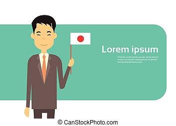 presa, affari, spazio, bandiera giapponese, asiatico, giappone, uomo affari, copia, bandiera, uomo