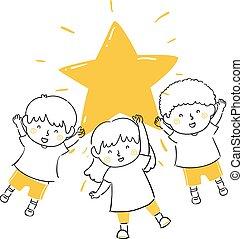 presa, bambini, illustrazione, lucente, stella