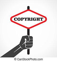 presa, bandiera, copyright, mano, parola