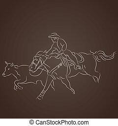 presa, cowboy, bestiame