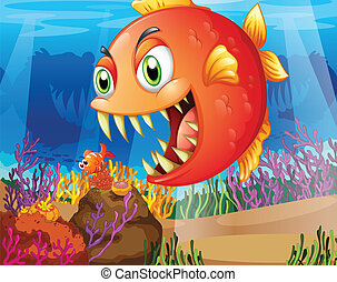 presa, depredador, mar, debajo