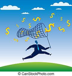 presa, dollaro, corsa, uomini affari