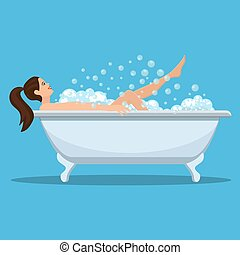presa, donna, bath.