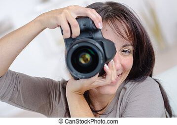 presa, donna, fotografia