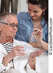 presa, donna, pillola, anziano