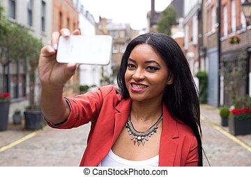 presa, donna, selfie